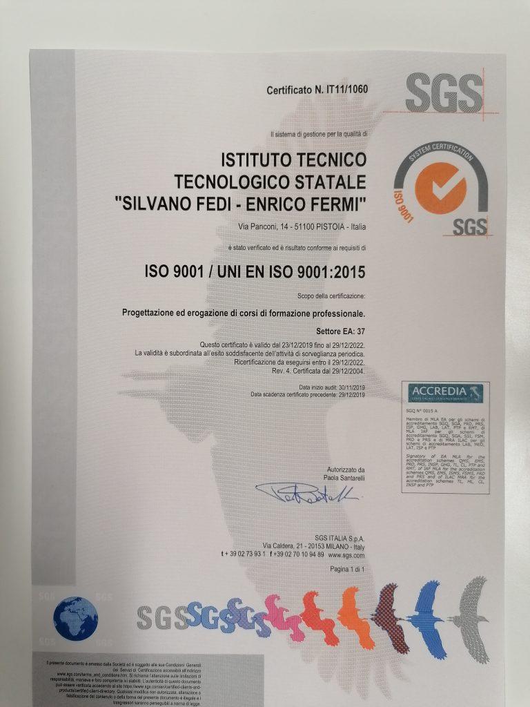 Certificato qualità 2020